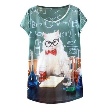 Chemistry Teacher Cat Funny Flowy Loose T-Shirts