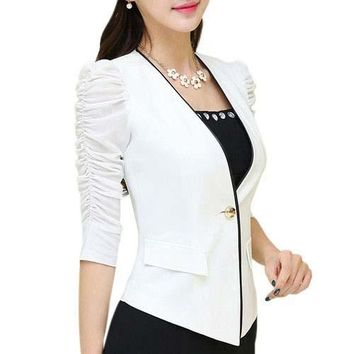 Ladies puff sleeve blazers and jackets