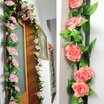 Artificial Flowers Silk Rose Vines for a Wedding Home Party Decoration Real Touch Christmas Flower 240cm Plastic Plant Vine