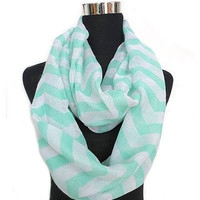 Mint Green Chevron Infinity Scarf