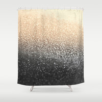GOLD BLACK Shower Curtain by Monika Strigel