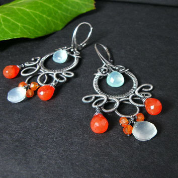 Silver wire wrapped earrings chalcedone by MadeBySunflower on Etsy