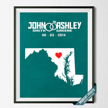 Wedding, Print, Maryland, Customized, Anniversary, Couple, Personalized, Gift, Map, Custom, Wall Art, Home Decor, Marriage, Love [NO 19]
