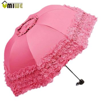 Top Quality Korea brand New Arched Umbrellas Women Sun Rain Princess Umbrella Lace Wedding Parasol Great Gift Girl's Umbrella