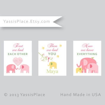 Pink Elephant Nursery Decor, First We Had Each Other, Baby Girl Nursery Art Prints in Pink, Green and Yellow, Kids Wall Art by YassisPlace