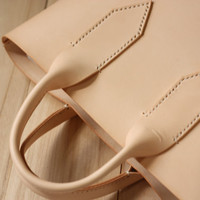 Simply Hand Stitched  Nude Leather Tote Bag