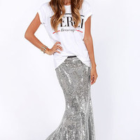 Total Stardom Silver Sequin Mermaid Skirt