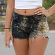 Mid Waisted destroyed Galaxy Shorts