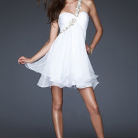 Elegant Short Silk-like Chiffon One Shoulder Homecoming Dress