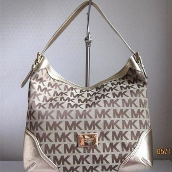 MICHAEL MICHAEL KORS Gold MILLBROOK MK SIGNATURE LG Shoulder Bag Handbag Purse