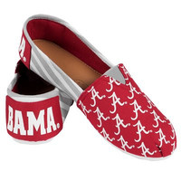 Alabama Crimson Tide Official NCAA Womens Stripe Canvas Slip-on Shoes