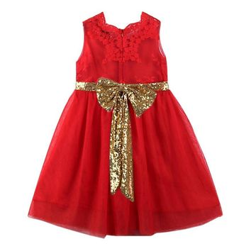 Girls Princess Dresses Cute Kids Baby Girl Sequins Bowknot Dress