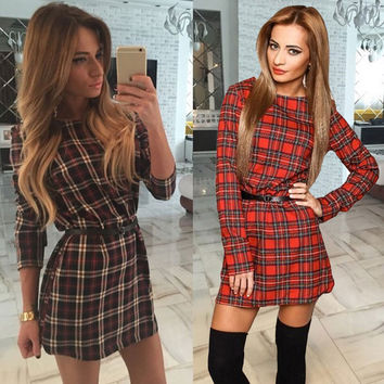 Hot Sale 2016 New Style Autumn and Spring Women Plaid Dresses O-neck Long Sleeve Loose Dresses Casual Mini Dress