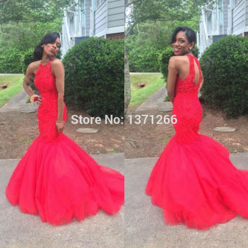 Vintage Long Red Lace Mermaid Prom Dresses 2017 Keyhole Back Sexy Dubai Women Evening Gowns Formal Party Dresses