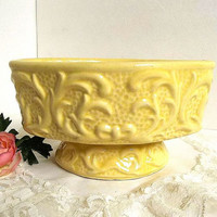 Vintage yellow pedestal pottery planter, 1950's, filigree scroll design, Cottage Shabby Chic, oval planter vase