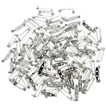 100 Pieces Silver Tone 0.75 Inch Locking Pin Backs Clasp Brooch for Badge Crafts, Jewelry Crafting