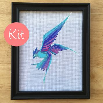 Modern Bird Cross Stitch Kit, Blue, Purple