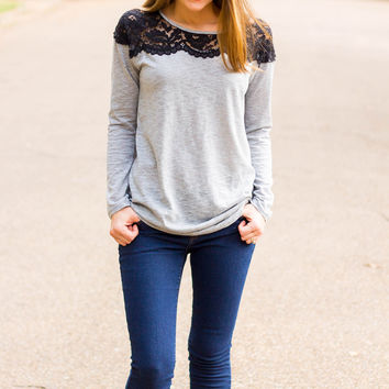 Lace Neckline Long Sleeve Top- Grey