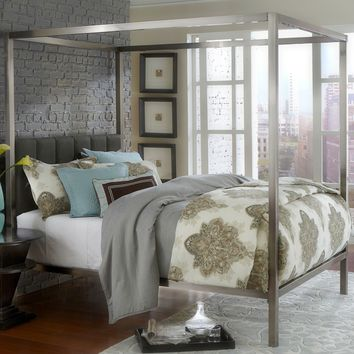 King size Modern Metal Canopy Bed with Upholstered Headboard