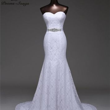 Beautiful Crystal Belt Mermaid Wedding Dresses