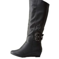 Black Double-Buckled Knee-High Wedge Boots by Charlotte Russe