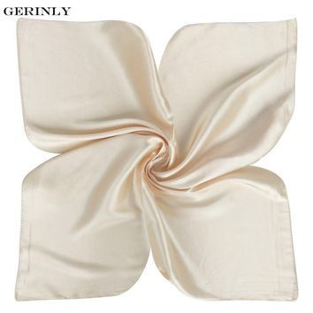 50X50CM Luxury Women Square Scarf Silk Bandana Brand Solid Color Satin Scarves Head Neck Hair Tie Band Small Neckerchief Hijab