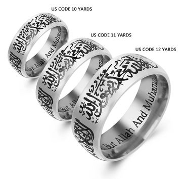 Punk Stainless Steel Allah Arabic Aqeeq Shahada Islamic Muslim Rings Band Muhammad God Quran Middle Eastern The One Lover Rings