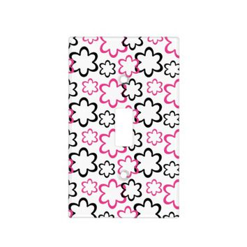 Hot Pink Black Floral Flower Abstract Teen Girl Light Switch Plates