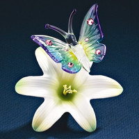 Butterfly On A Lily Glass Figurine w/ Swarovski Elements