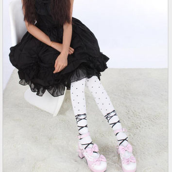 Lolita Cute Cotton Dots Striped Over Knee Socks Boot Socks
