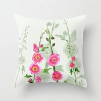 Hollyhock Throw Pillow, watercolor flowers, pink feminine, spring floral decor