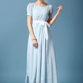 Light Blue Mesh and Lace Sleeved Maxi Dress with Belted Lace