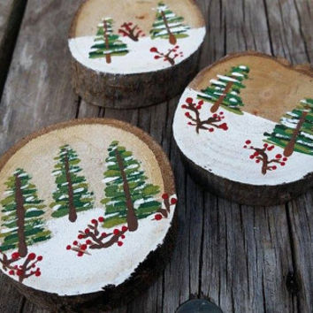 Hand painted rustic winter ornament, custom holiday gifts - Painted winter scene