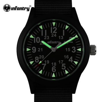 Mens Watches Tactical Army Luminous Watches Durable Nylon Strap Japanese Quartz Watches Clock