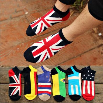 New arrival men's socks invisible socks 6 pairs/lot classic male brief cotton man sock slippers shallow mouth national flag sock