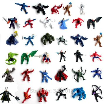 10pcs The Avengers Superheroes Manga PVC Action Figures Spider man Miniatures Anime Figurines Dolls Kids Toys For Boys Girls