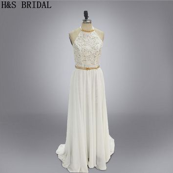 New Arrival vestido de noiva casamento Two Pieces Wedding Dresses Beaded Backless Lace Wedding Gown With Detachable Train