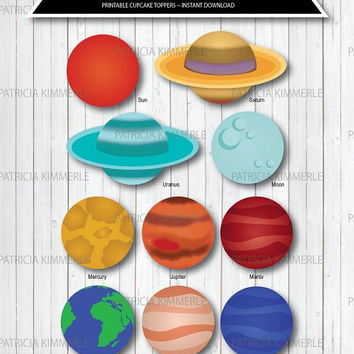 Printable Cupcake Toppers, Solar System, Space, Planets, Science, Explorer, Astronaut,Planetary Birthday,Decorations, DIY,  INSTANT DOWNLOAD
