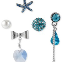 Betsey Johnson Earring Set, Silver-Tone Star Fish and Blue Crystal Stud Earrings - Fashion Jewelry - Jewelry & Watches - Macy's