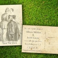 """Save The Date Wedding PostCard - Vintage Rustic Grandville Customizable 4"""" x 6""""  - 50 Pieces PRINTED Double Sided Postcard"""