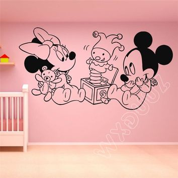 WXDUUZ Vinyl Wall Decal Sticker Decor Mickey Mouse Minnie Cartoon Art Home Decor Nursery Kids Room Quote Wall Sticker B404