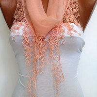Salmon Cotton Shawl Scarf -Headband Cowl with Lace Edge