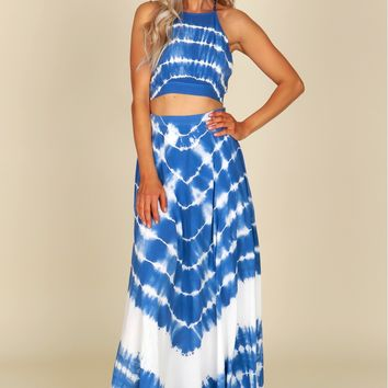 Tie Dye Maxi Skirt Off White/ Blue