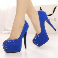 Womens Clubbing Rivets Studs High Heels Platform Stiletto Suede Pump Court Shoes