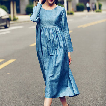 maxi linen dress in blue,  longsleeve dress in blue, winter tunic dress, oversize sexy dress, full length dress, long kaftan dress, cocktail