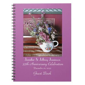35th Anniversary Party Guest Book, Vintage Teapot Notebook