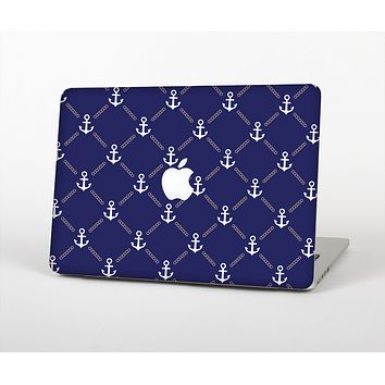 The Navy Blue & White Seamless Anchor Pattern Skin for the Apple MacBook Pro Retina 13""