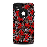The Red Icon Flowers on Dark Swirl Skin for the iPhone 4-4s OtterBox Commuter Case
