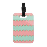 "Monika Strigel ""Avalon Soft Coral and Mint Chevron"" Orange Green Decorative Luggage Tag"