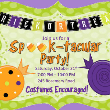 Spooktacular Halloween party Invitations Birthday Party Class Party Trick or Treat
